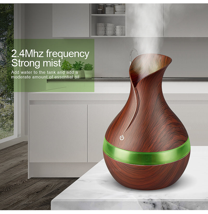 USB electric Aroma Essential Oil Diffuser Ultrasonic Air Humidifier plus 6bottles Pure essential oils - AMAZOFFER