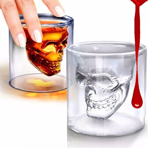 Image of Magic Transparent Glass Skull Mugs for Vodka Wine Beer - AMAZOFFER