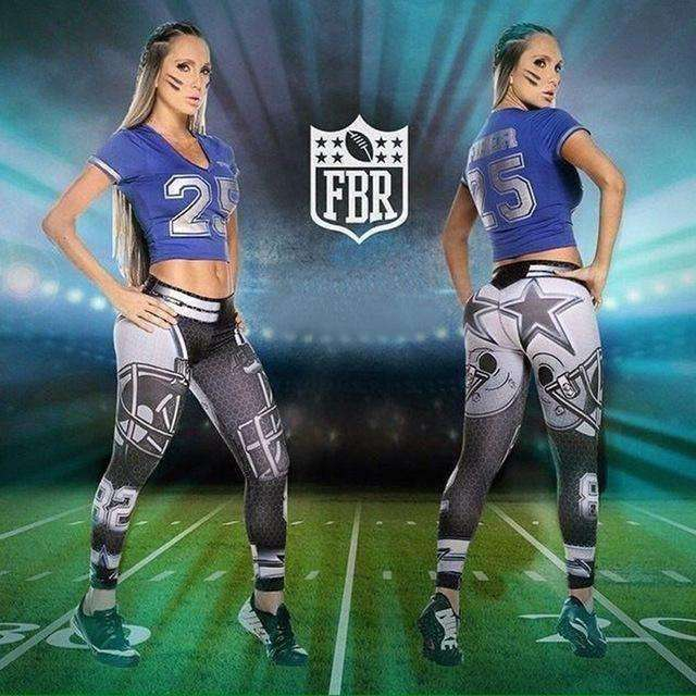 New Women Fitness Leggings American Footballs Sportswear Legging Cowboys 3D Printed Slim Pants - AMAZOFFER