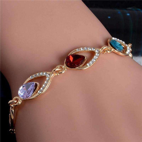 Trendy Water Drop Bracelet Love Teardrop Crystal Bracelet Gold Filled Jewelry Gift - AMAZOFFER