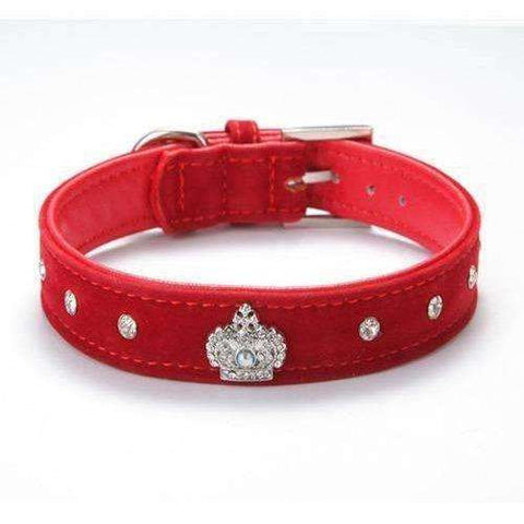 Rhinestones Crown Dog Collar Soft Velvet Material Adjustable necklacePet Dog Cat Collars - AMAZOFFER