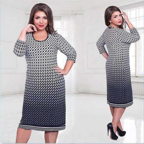 Image of High quality Summer dress fashion women big size women clothing casual o-neck - AMAZOFFER