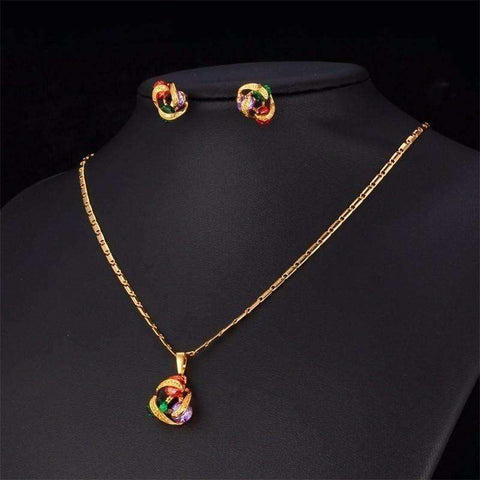 U7 Luxury Necklace Set For Women Trendy 3 Zircon Beads With Gold Plated Necklace - AMAZOFFER
