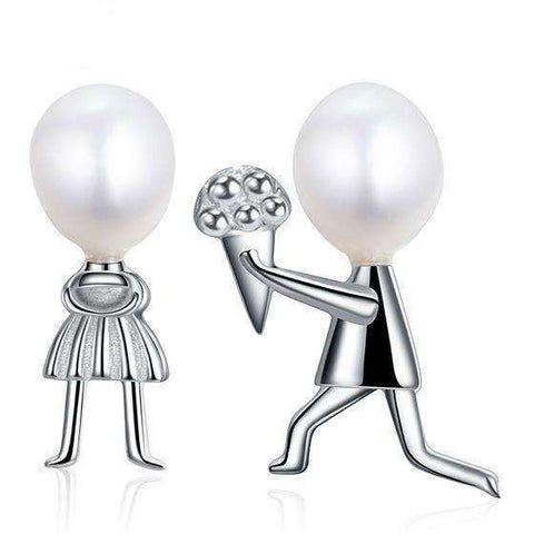 Image of sterling silver jewelry Romantic Propose Marriage Love Jewelry Natural Stone Freshwater Pearl - AMAZOFFER