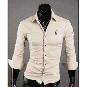 New Fashion Brand Clothing Camisa Masculina Long Sleeve Slim Fit Men Shirt Embroidery