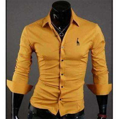New Fashion Brand Clothing Camisa Masculina Long Sleeve Slim Fit Men Shirt Embroidery - AMAZOFFER