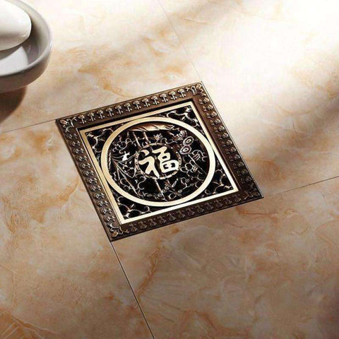 Image of New Arrival Antique Brass 12*12cm Square Floor Drain Shower Drain Bathroom - AMAZOFFER