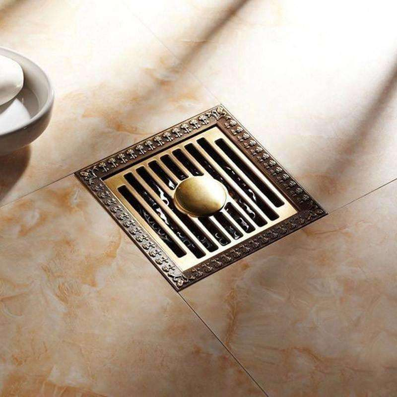 New Arrival Antique Brass 12*12cm Square Floor Drain Shower Drain Bathroom - AMAZOFFER