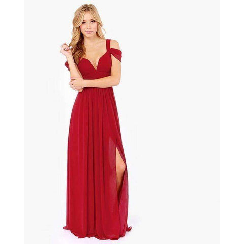 HAOYIHUI Brand New Summer Vestidos Floor Length Solid Dinner Sexy Dress Side Slit V Neck - AMAZOFFER