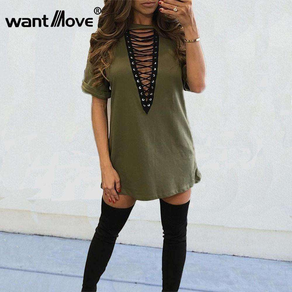 summer women t shirt mini tie-up dress 11 colors - AMAZOFFER
