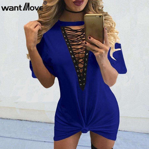 Image of summer women t shirt mini tie-up dress 11 colors - AMAZOFFER