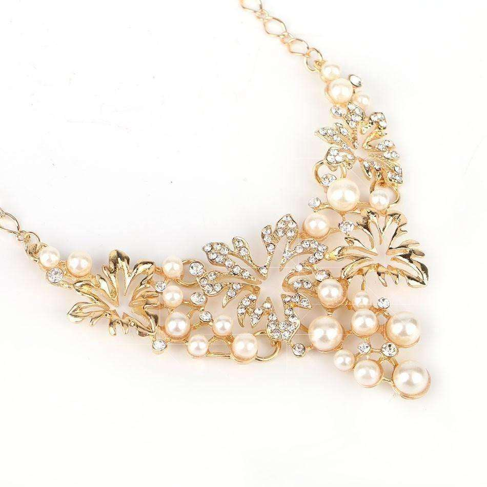 Women Necklace Simulated Pearl Statement Necklaces Pendants Trendy Jewelry Necklace - AMAZOFFER
