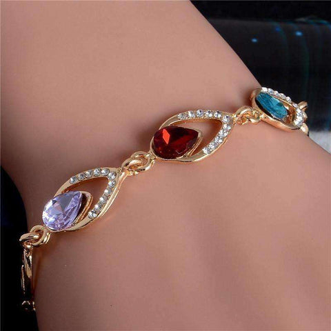 Image of Trendy Water Drop Bracelet Love Teardrop Crystal Bracelet Gold Filled Jewelry Gift - AMAZOFFER