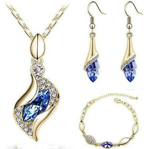 Image of Elegant Waterop Earrings Jewelry Sets Gold Plated Austrian Crystal Necklace Bracelets For Woman - AMAZOFFER