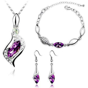 Elegant Waterop Earrings Jewelry Sets Gold Plated Austrian Crystal Necklace Bracelets For Woman