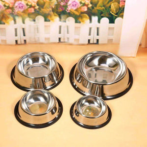 New Arrival Stainless Steel Standard Pet Dog Puppy Cat Food or Drink Water Bowl Dish 4 Size - AMAZOFFER