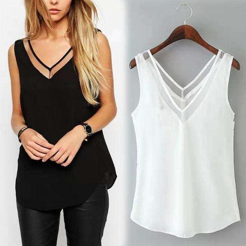 Image of Summer Women Chiffon Mesh Patchwork Sexy V-Neck Tops - AMAZOFFER