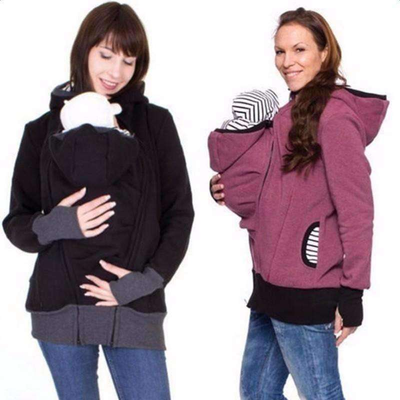 High Quality Parenting Child Autumn And Winter Three Features Mother Kangaroo Hoodie Women Pullovers Mother Clothes - AMAZOFFER