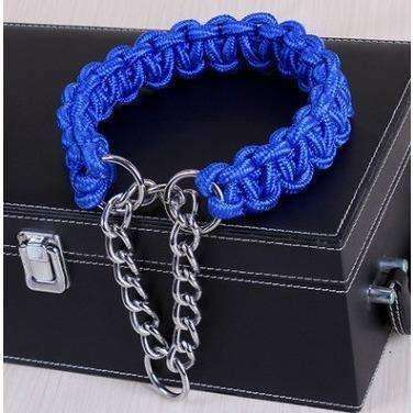 Nylon outer and cotton core small Medium and large Dog collar hand made P chain collars Walking dog - AMAZOFFER