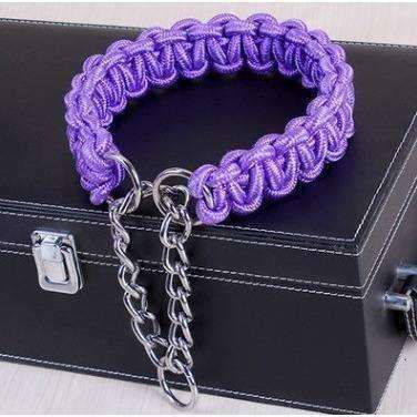 Image of Nylon outer and cotton core small Medium and large Dog collar hand made P chain collars Walking dog - AMAZOFFER