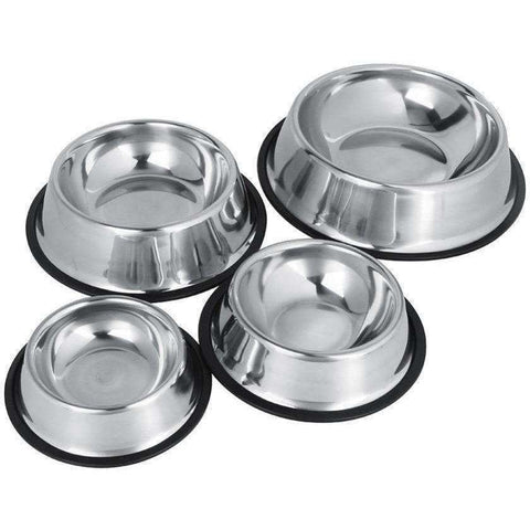 Shatter-resistant Stainless Steel NoSlip Dog Puppy Pet Food Water Bowl Water Dish Dog Feeder - AMAZOFFER