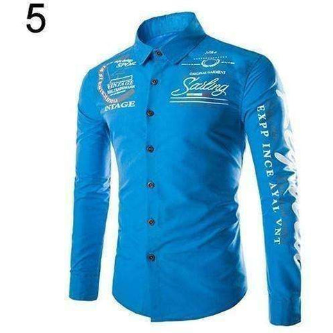 Men's Cool Casual Letter Print Turn-down Collar Long Sleeve Slim Fit Shirt Tops - AMAZOFFER