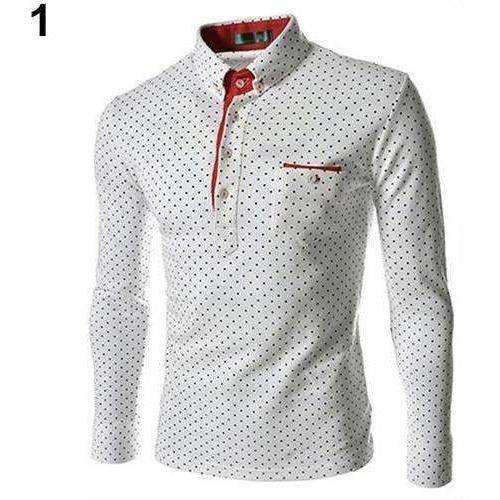 Men England Trendy Wave Point Self-Cultivation Long Sleeved Tide Shirt Top - AMAZOFFER