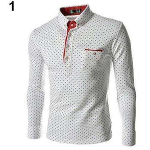 Men England Trendy Wave Point Self-Cultivation Long Sleeved Tide Shirt Top