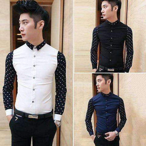 New Product Men's Fashion Cotton Blend Shirt Casual Slim Fit - AMAZOFFER