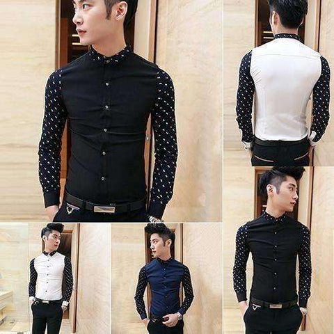 Image of New Product Men's Fashion Cotton Blend Shirt Casual Slim Fit - AMAZOFFER