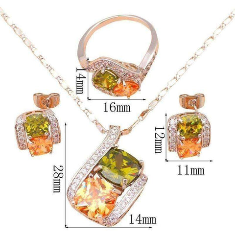 wedding accessories pendientes Color Crystal Silver Fine Fashion Jewelry Set Necklace Earrings Ring - AMAZOFFER