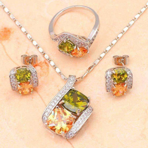 Image of wedding accessories pendientes Color Crystal Silver Fine Fashion Jewelry Set Necklace Earrings Ring - AMAZOFFER