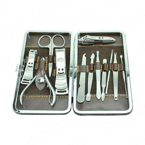 Portable Manicure Set Pedicure Scissor Tweezer Knife Ear pick Utility Nail Clipper Kit 12pcs - AMAZOFFER