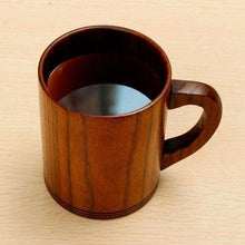 Eco-friendly Primitive Handmade Wooden Tea Cup Beer Mugs With Handgrip Tableware - AMAZOFFER