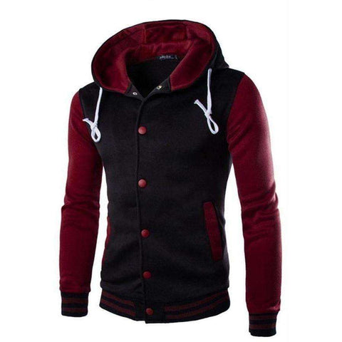 Men Fashion Autumn Winter Patchwork Thickening Coat Casual Male Slim Hoodie - AMAZOFFER