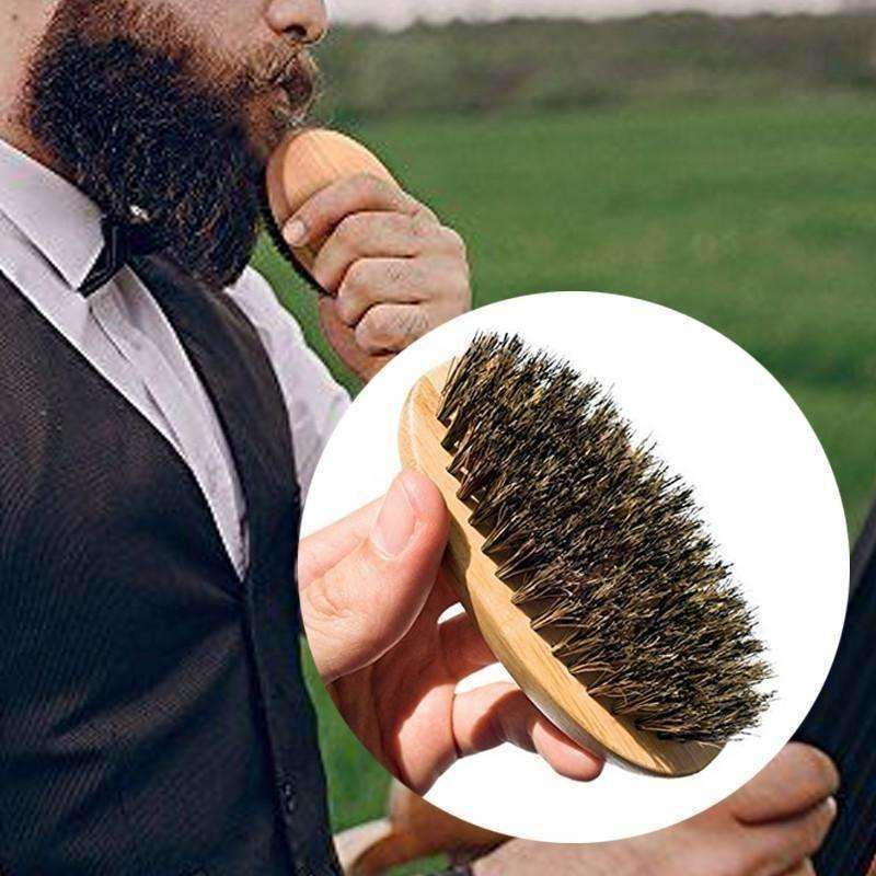 Men's Comb Shaving Beard Brush Bamboo&boar hair Stylish Bristles Face Massage Handle - AMAZOFFER