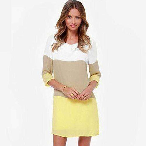 Image of Women's Casual Round Neck 3/4 Sleeve Party Patchwork Color Short Mini Dress - AMAZOFFER