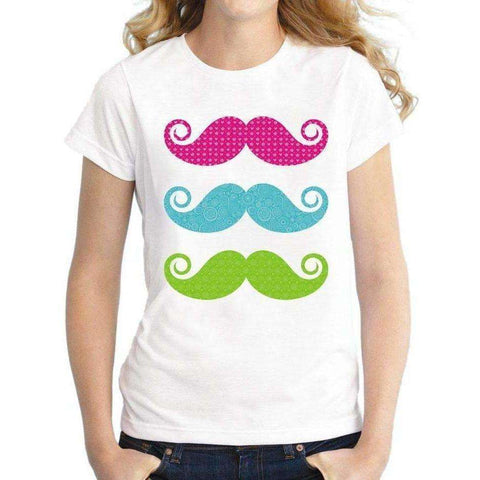 Image of Women Color mustaches Printed T-shirt Novelty Cartoon T Shirt Short Sleeve Lady Casual Tops - AMAZOFFER