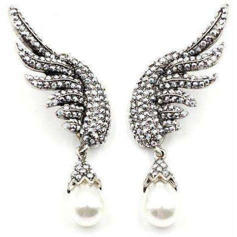 Image of New brand design statement  fashion stud Earrings for women simulated pearl wing earring - AMAZOFFER