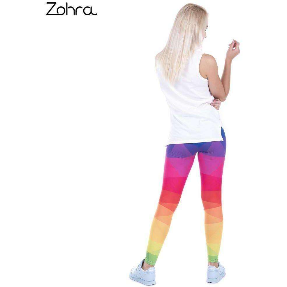 Zohra Autumn Winter Leggings Printed Women Legging Colorful Triangles Rainbow Legins - AMAZOFFER