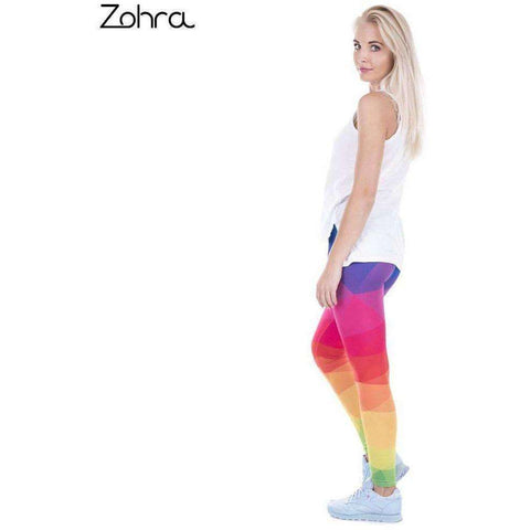 Image of Zohra Autumn Winter Leggings Printed Women Legging Colorful Triangles Rainbow Legins - AMAZOFFER