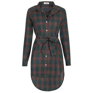 NEW Women Dress Long Sleeve Office Dress Irregular Plaid Shirt Dresses Women Clothes