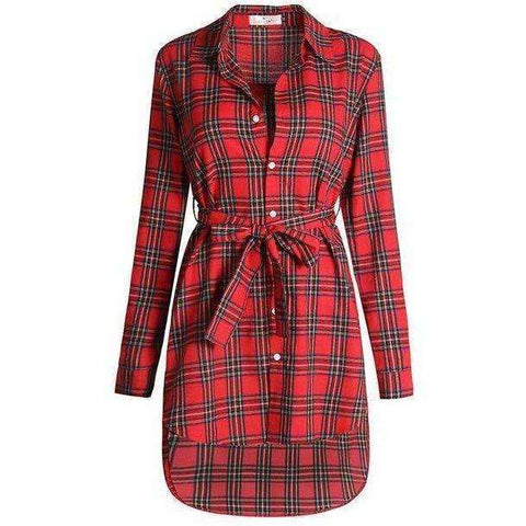 Image of NEW Women Dress Long Sleeve Office Dress Irregular Plaid Shirt Dresses Women Clothes - AMAZOFFER