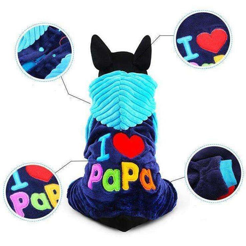 I love papa and mama winter Pet Dog Clothing For Pet Small Large Dog Coats Jackets - AMAZOFFER
