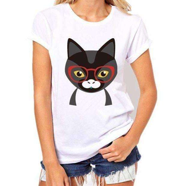 t shirts women  Black Cat Prints Simple casual short sleeve - AMAZOFFER