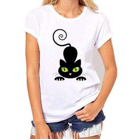 Image of t shirts women  Black Cat Prints Simple casual short sleeve - AMAZOFFER