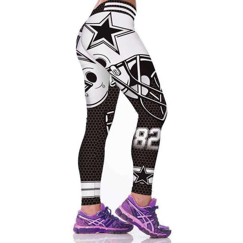 Image of New Women Fitness Leggings American Footballs Sportswear Legging Cowboys 3D Printed Slim Pants - AMAZOFFER