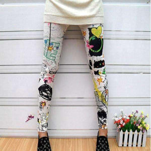 Women Floral Sunflower Stripped Print Leggings Multi-color High Waist Stretch Pants 2017
