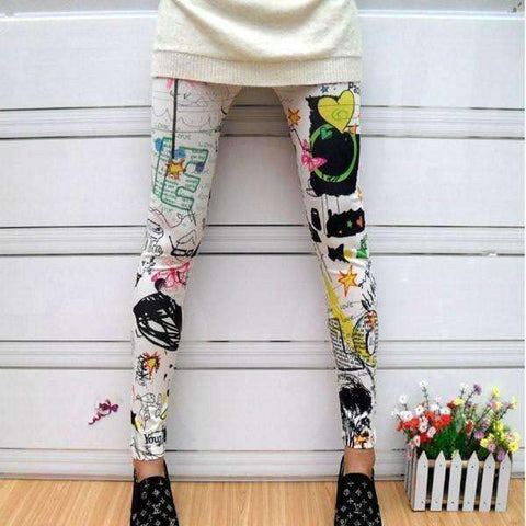Image of Women Floral Sunflower Stripped Print Leggings Multi-color High Waist Stretch Pants 2017 - AMAZOFFER