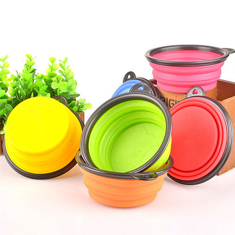 Image of Hot!  Silicone Travel Dog Bowl Collapsible Premium Quality Food Water Pet Travel Bowl - AMAZOFFER